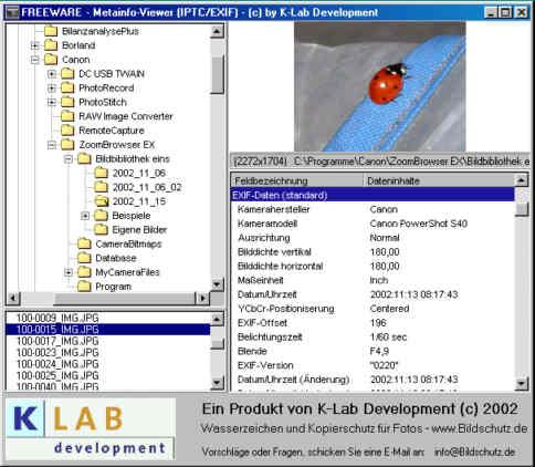 Screenshot für Metainfoviewer